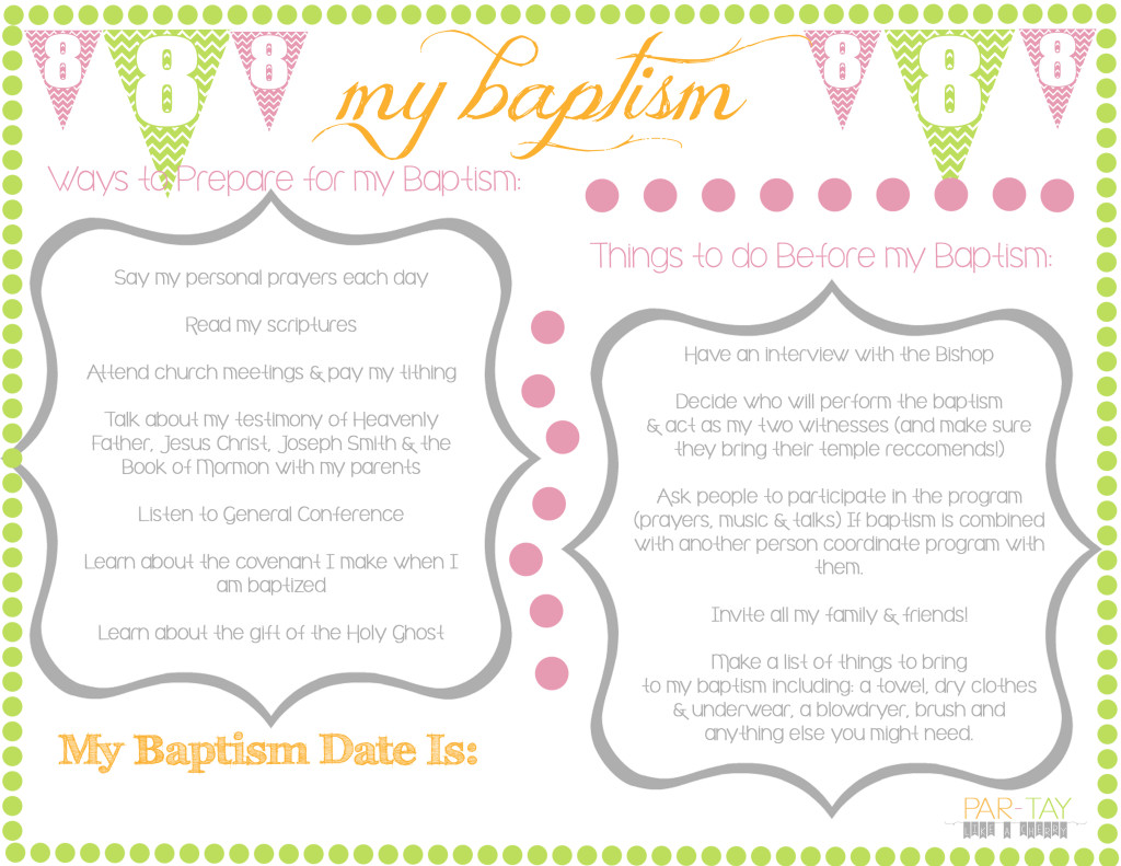 Baptism Preview handouts girls