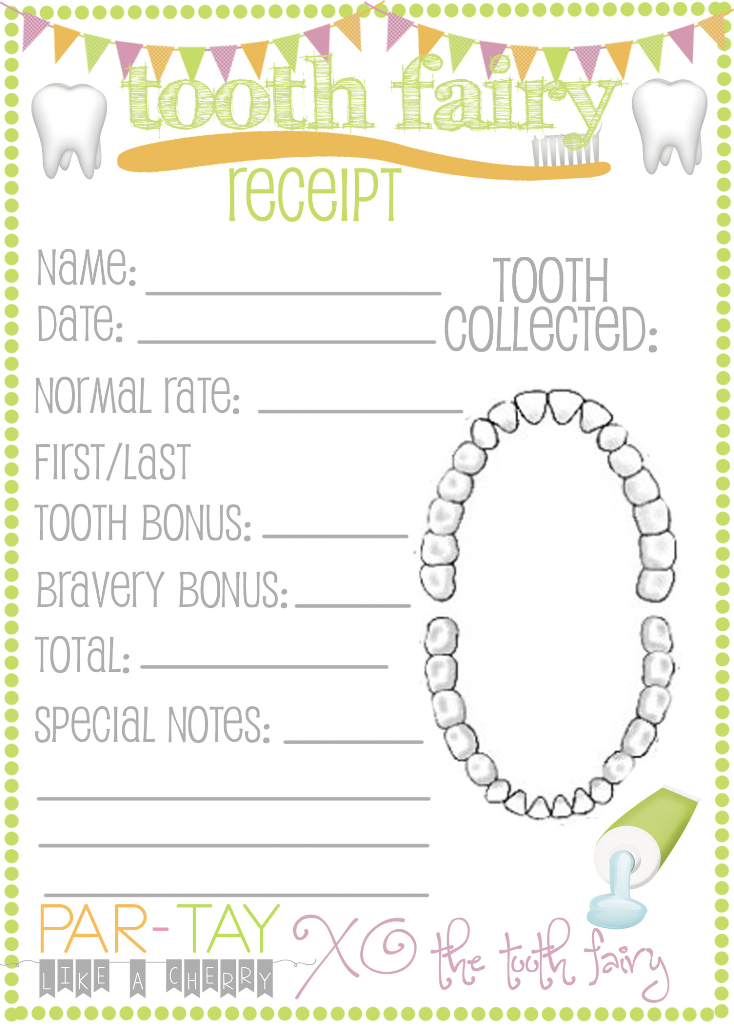 Tooth Fairy Receipts Free Printable