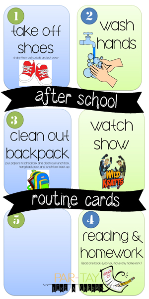 after school routine cards