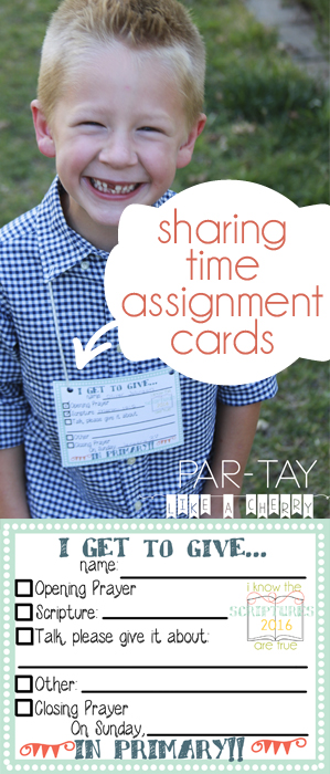 primary sharing time assignment cards 2016 free printable
