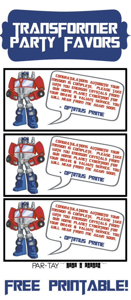 transformer party favors free printable