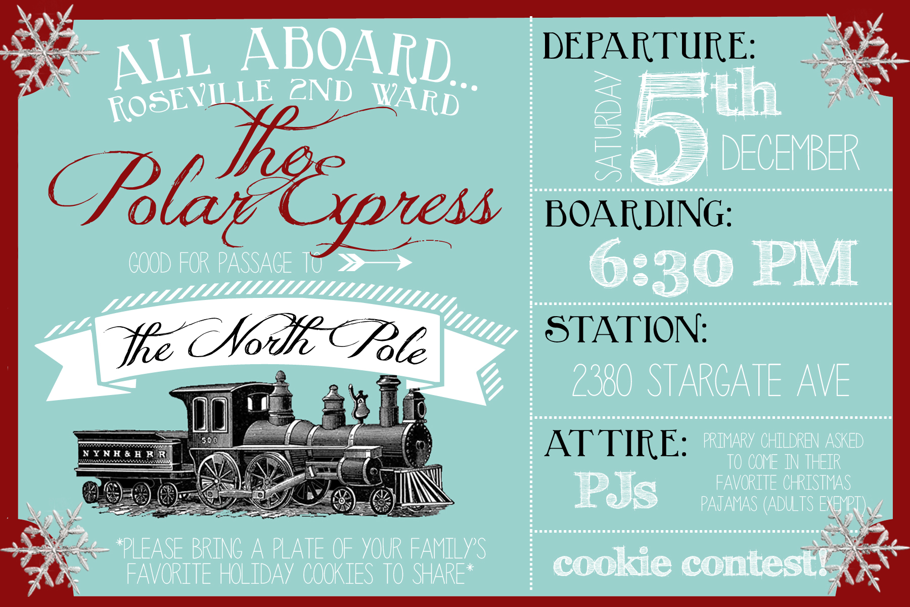 polar express party invitation party like a cherry