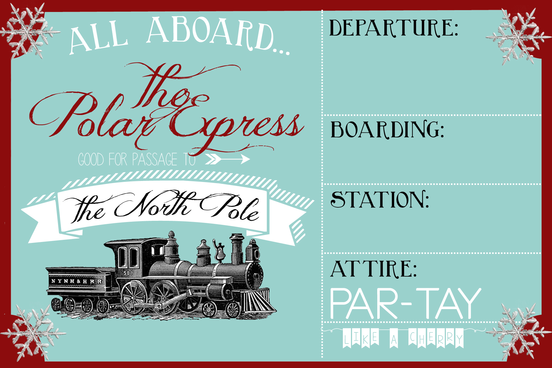Polar Express Party Invitation Party Like a Cherry – Ticket Invitation Template