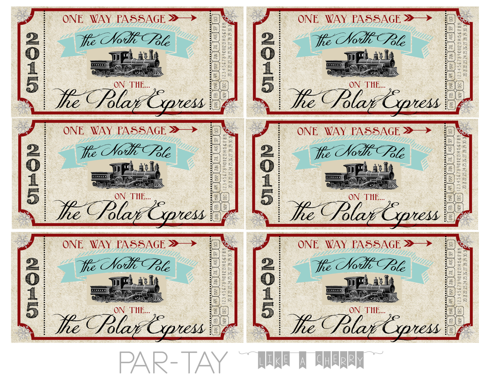 Polar Express Train Tickets Free Printable Party Like a Cherry
