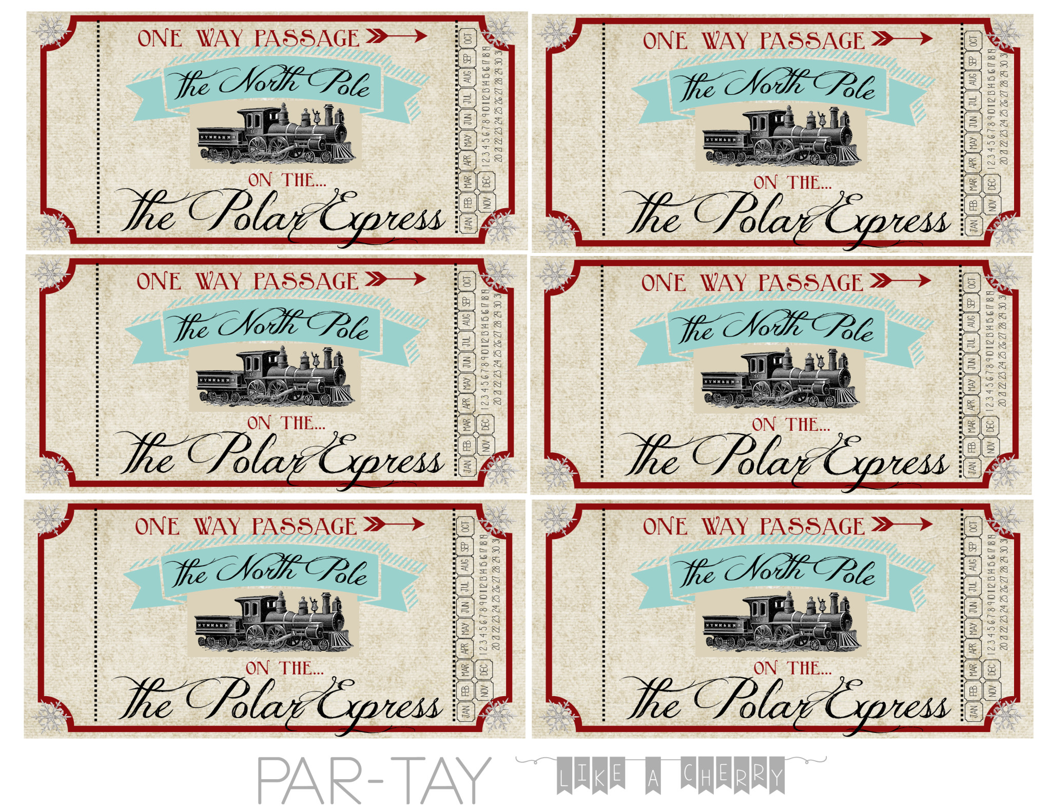 Polar Express Train Tickets Free Printable Party Like a Cherry – Printable Tickets Free