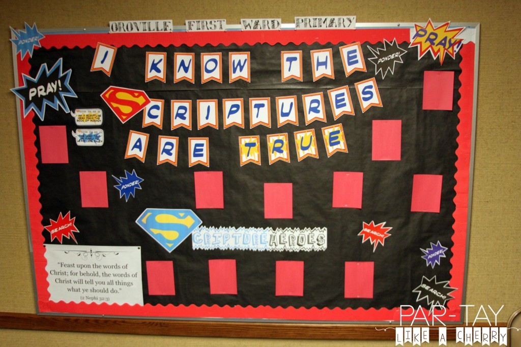 2016 primary bulletin board scripture hero idea. This site has tons of primary free printables and ideas!