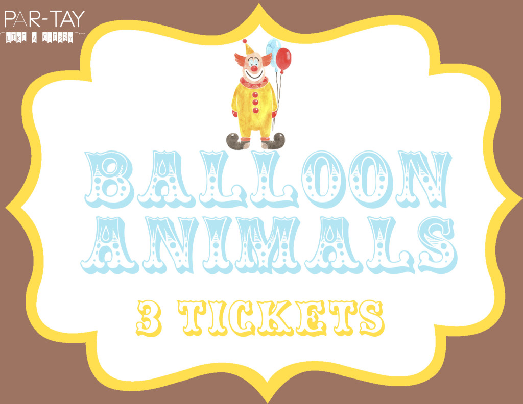 balloon animal circus party free printable sign