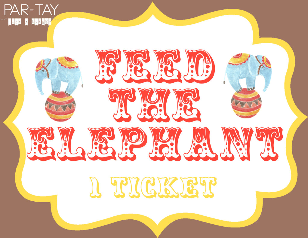 feed the elephant free printable sign for circus party game