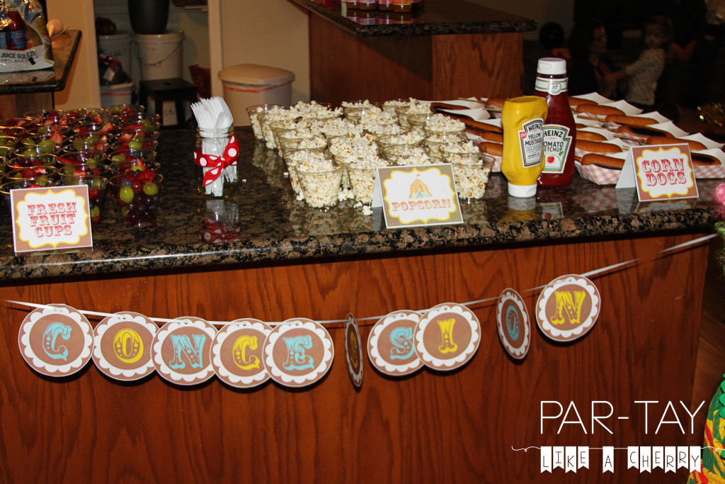 concession circus party food ideas
