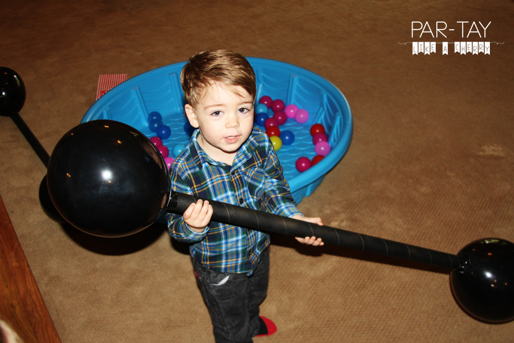 strong man barbell circus party idea