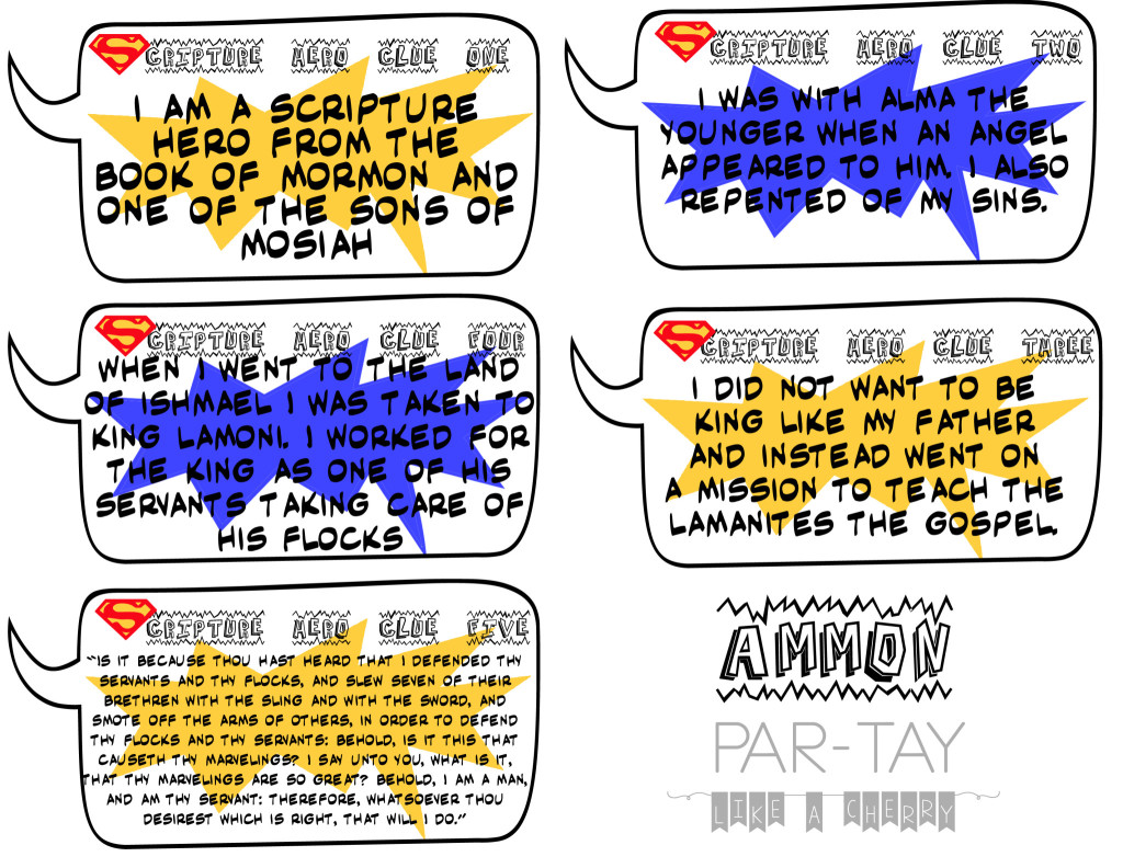 primary scripture hero clue cards for ammon i know the scriptures are true