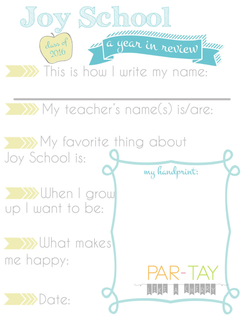 joy school questionnaire free printable