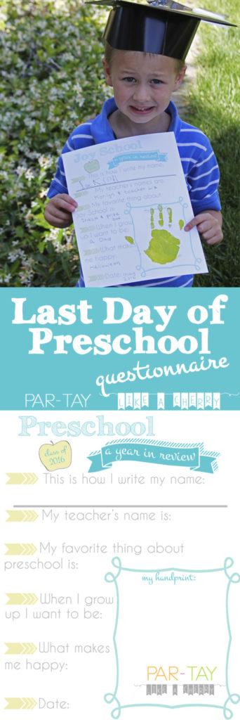 end of preschool questionnaire free printable