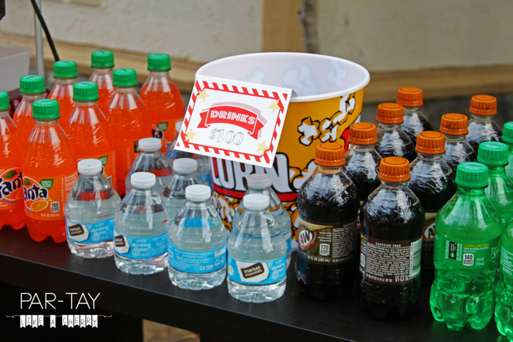 drinks concession stand movie party