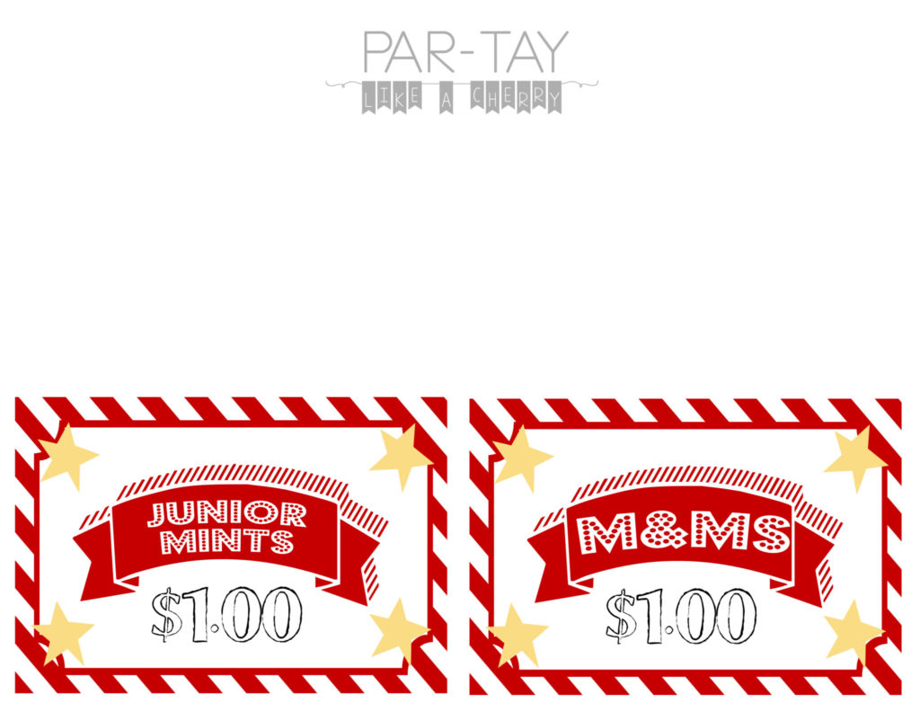 drive in movie party free printables