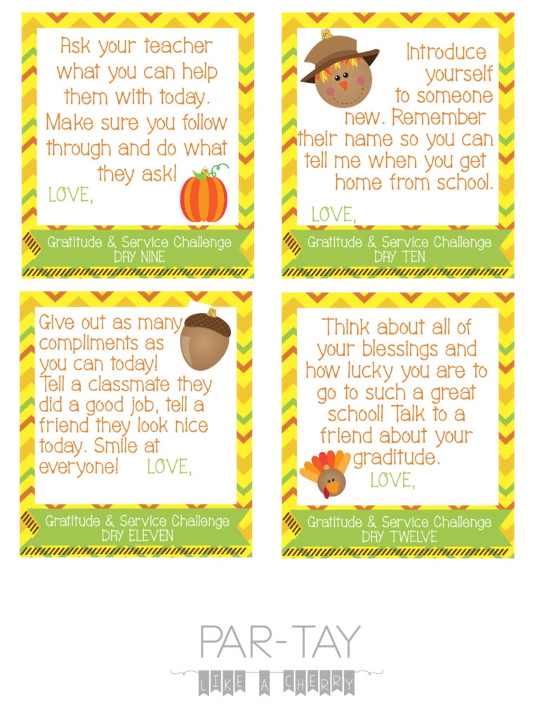 Thanksgiving lunchbox challenge cards, leave one in your kids lunch each day leading up to thanksgiving break!