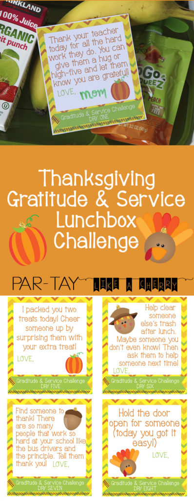 free printable thanksgiving gratitude and service lunchbox challenge cards. Teach your kids gratitude this Thanksgiving with this challenge!