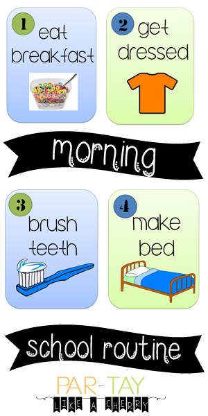 morning school routine cards
