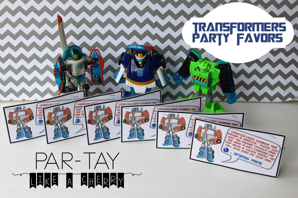transformers party favor free printable