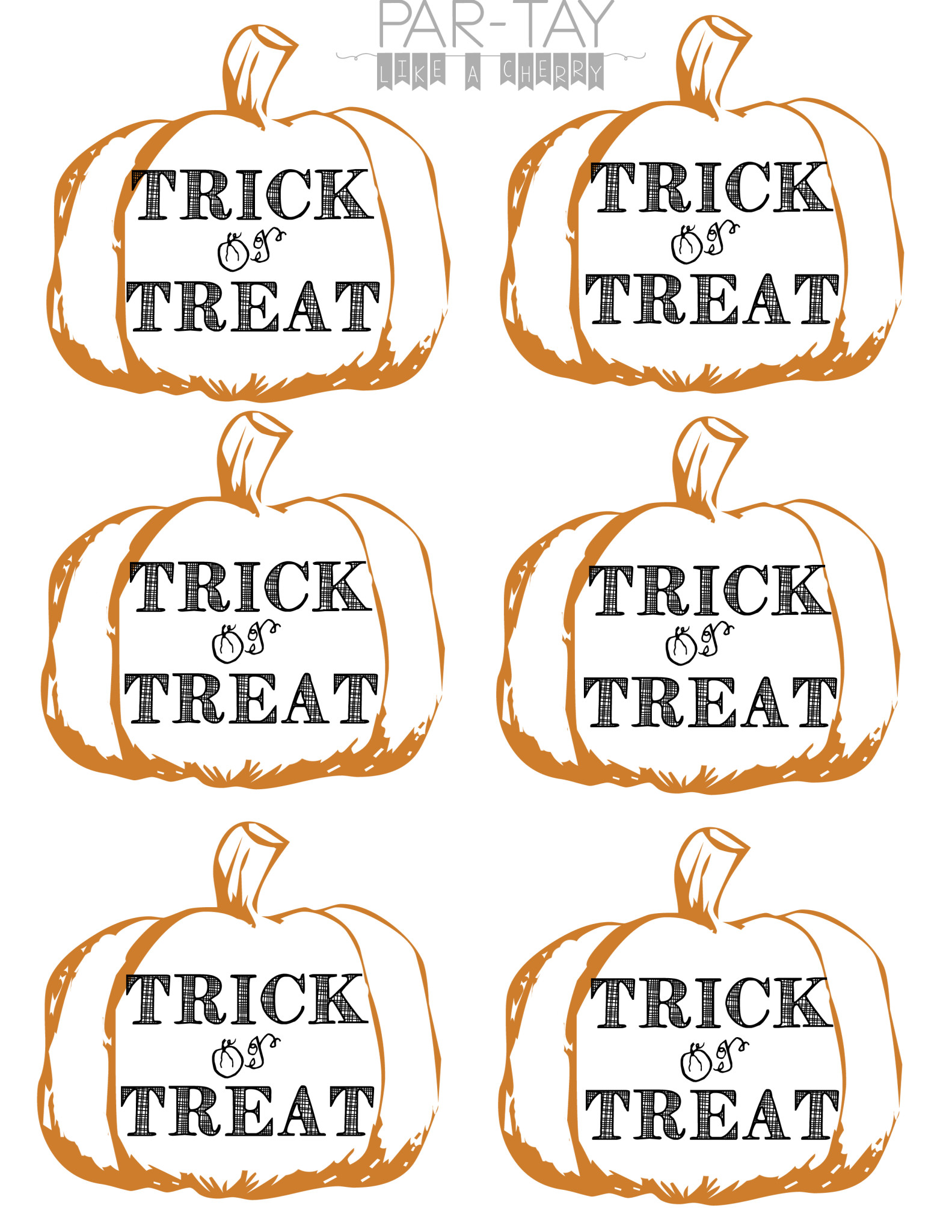 photo regarding Printable Halloween Tags called Pumpkin Tags Free of charge Printable - Celebration Together with a Cherry