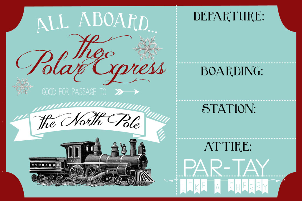 polar express party invitation free template