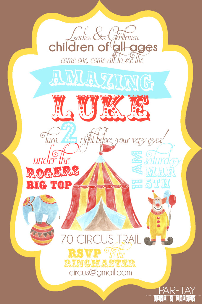 Free Circus Birthday Invitation - Party Like a Cherry