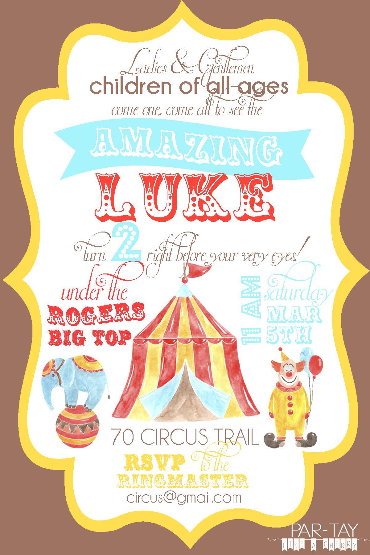 free circus birthday invitation