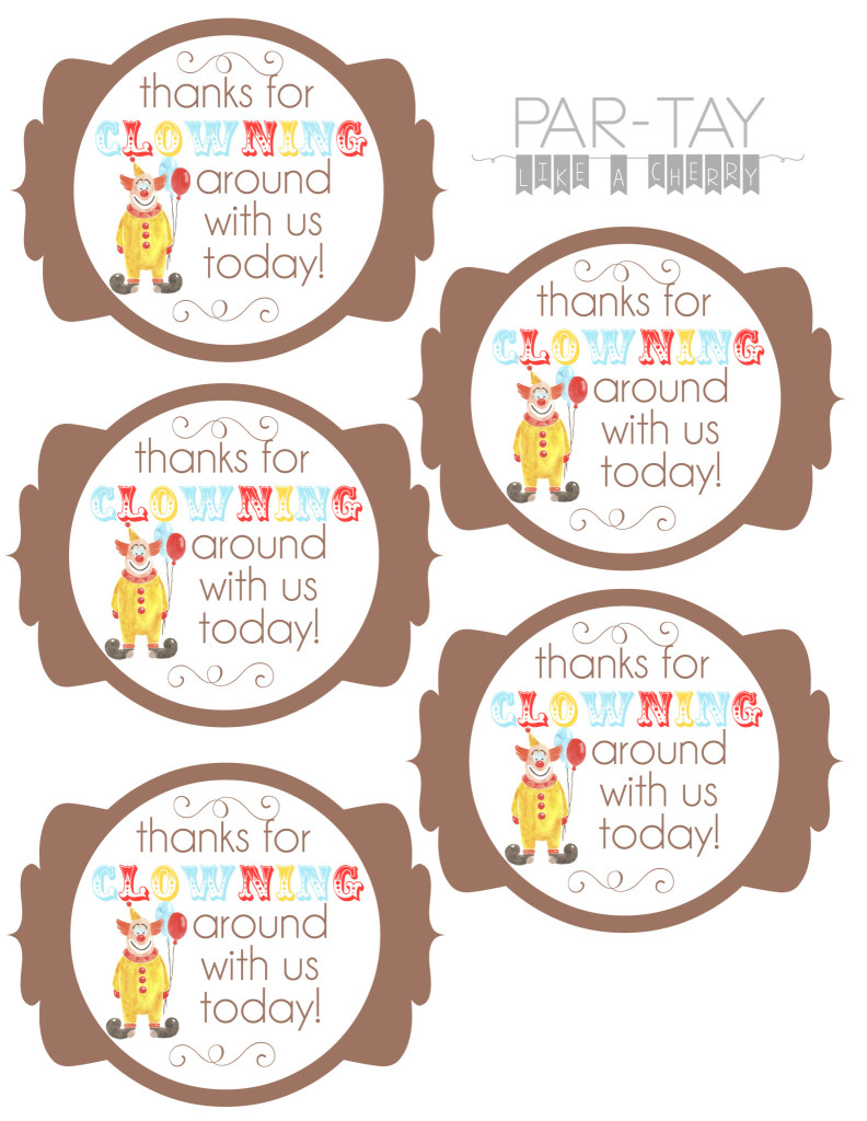 free printable circus birthday party favor tags