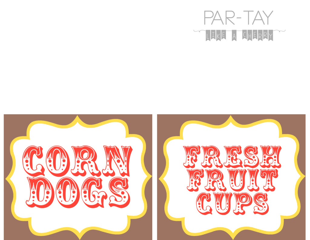 free printable circus party food labels