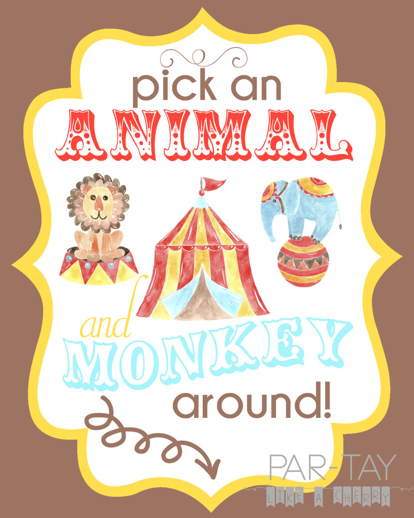 free printable circus birthday party sign