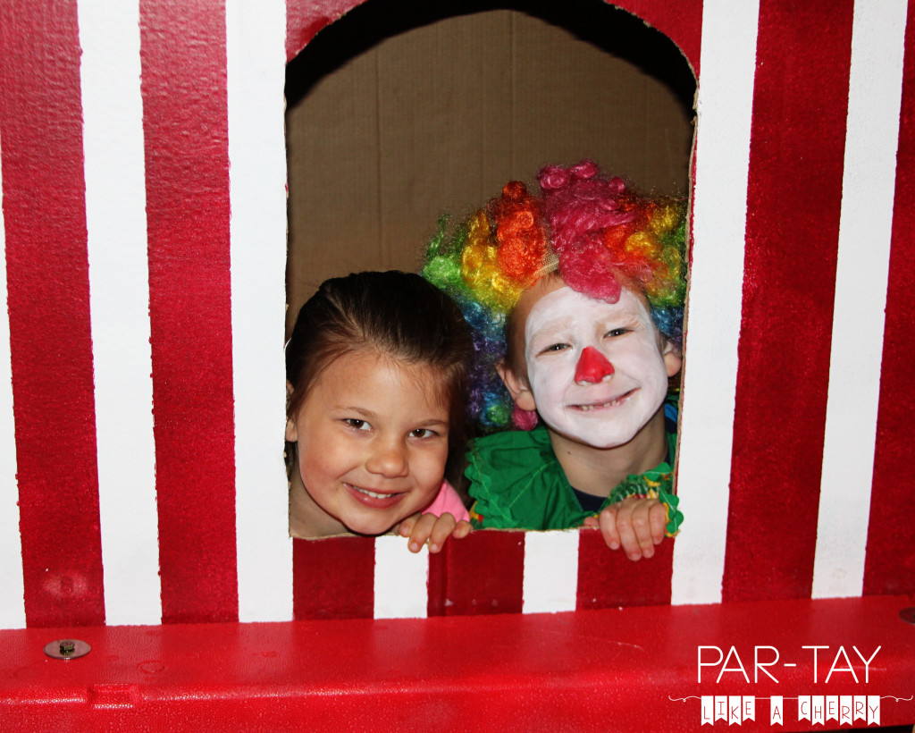 circus party ticket booth out of a refrigerator box