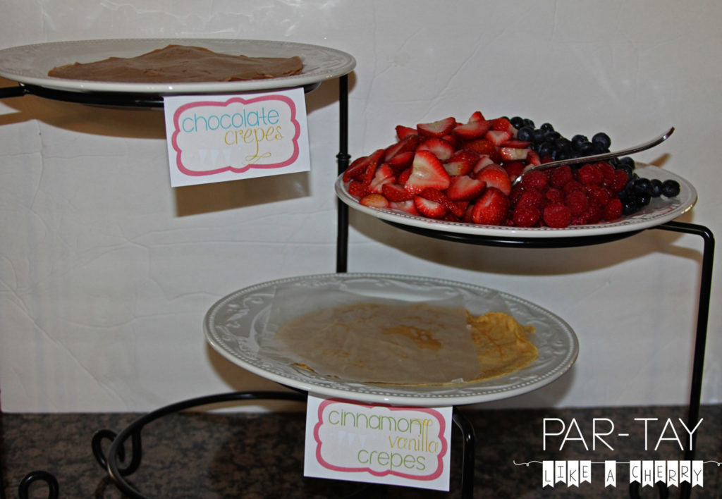 image relating to Free Printable Buffet Food Labels titled Crepe Buffet Meals Labels - Celebration Together with a Cherry