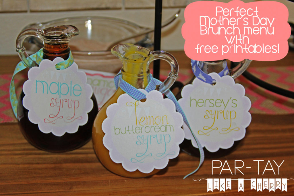 crepe buffet food label free printables with links to recipes, great for mothers day brunch!