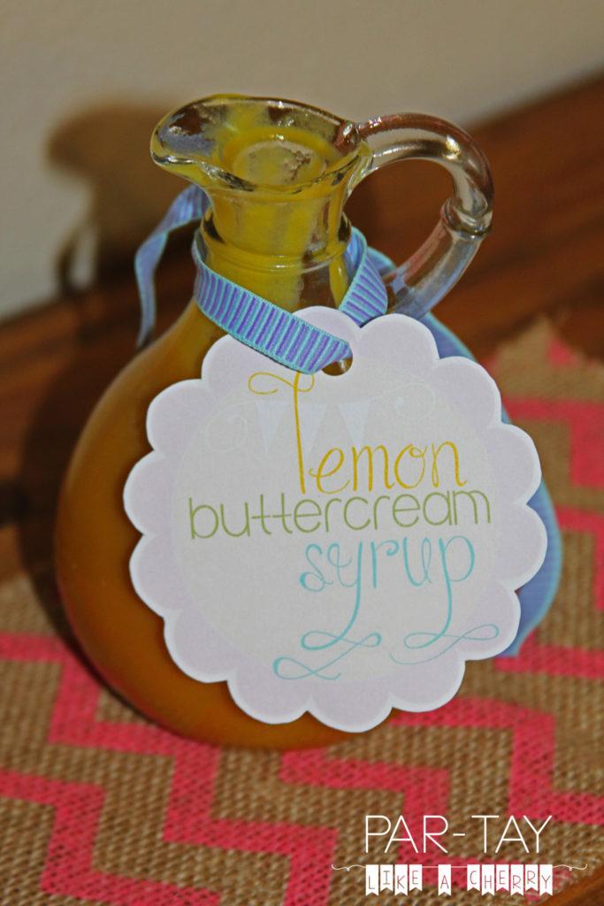 lemon buttercream syrup food label free printable