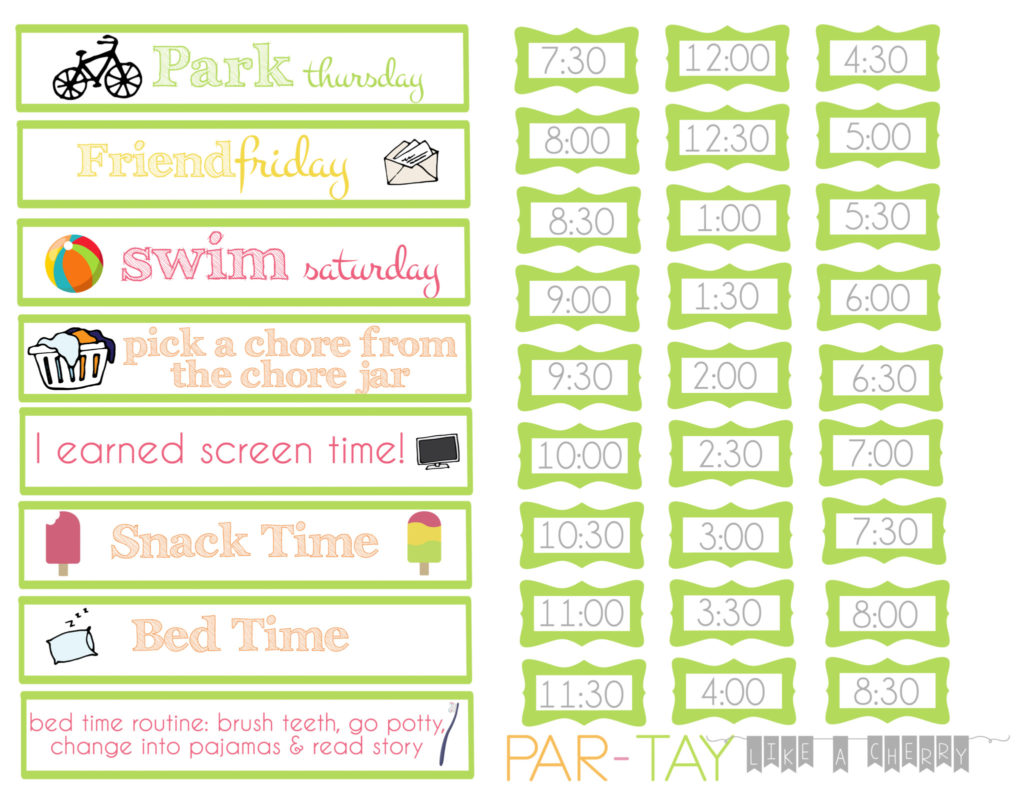 summer daily schedule strips