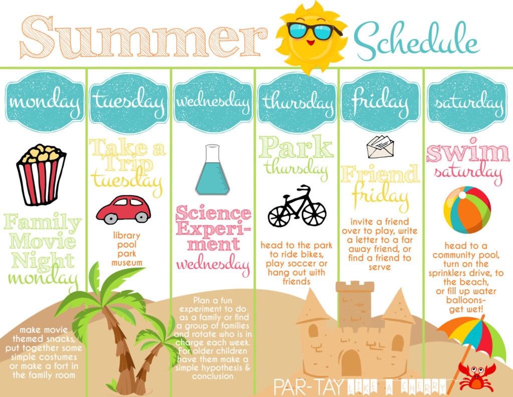 summer boredom blaster weekly schedule free printable