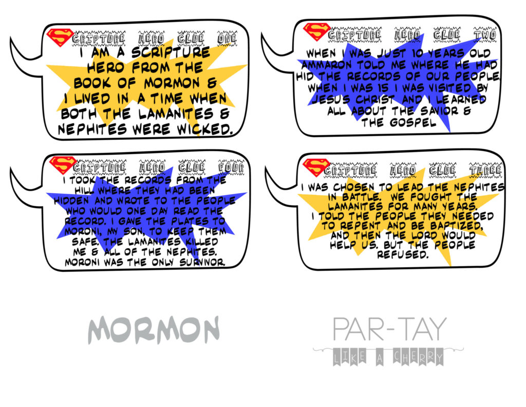 scripture hero clue cards- mormon