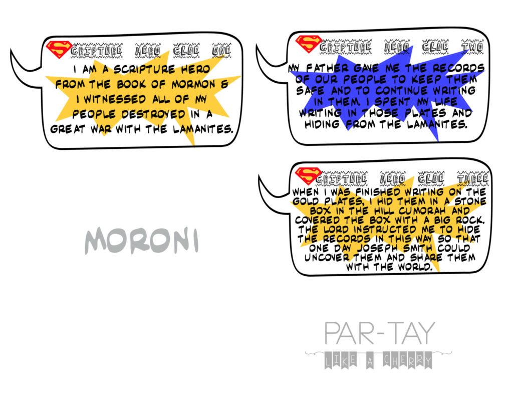 primary scritpure hero clue cards moroni