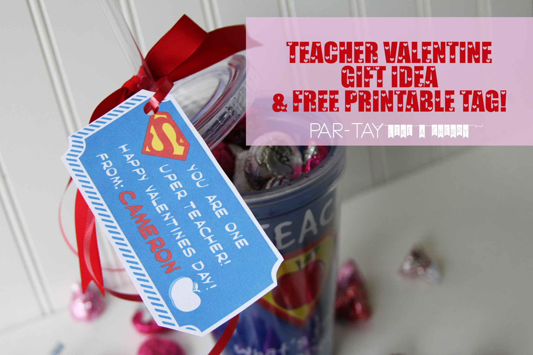 picture about Teacher Valentine Printable named No cost Printable Instructor Valentine Present Tags - Social gathering Including a Cherry