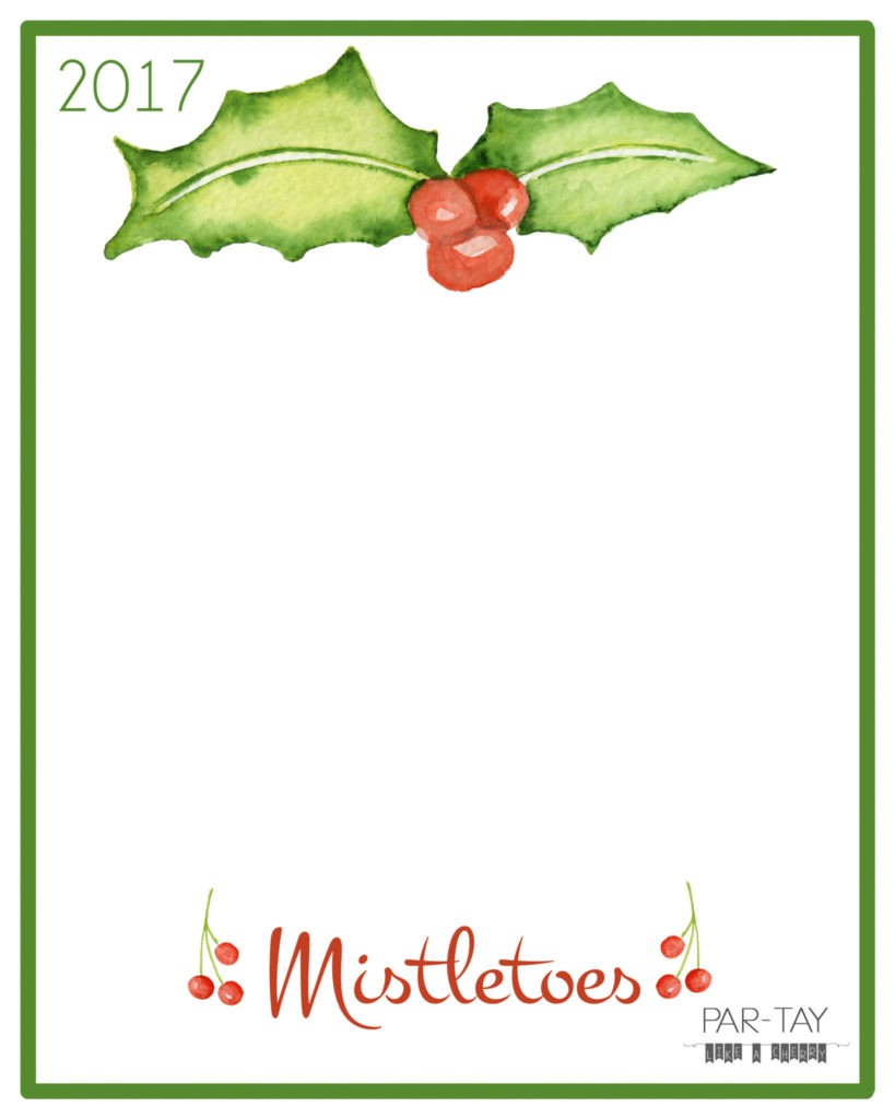 mistletoes christmas craft free printable 8X10, perfect for newborns and preschoolers!