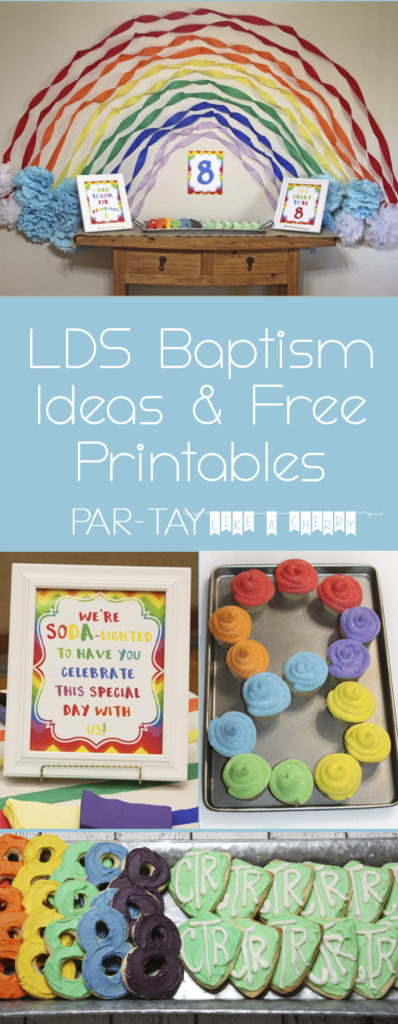 LDS baptism ideas and free printables including links, decorations, food and more