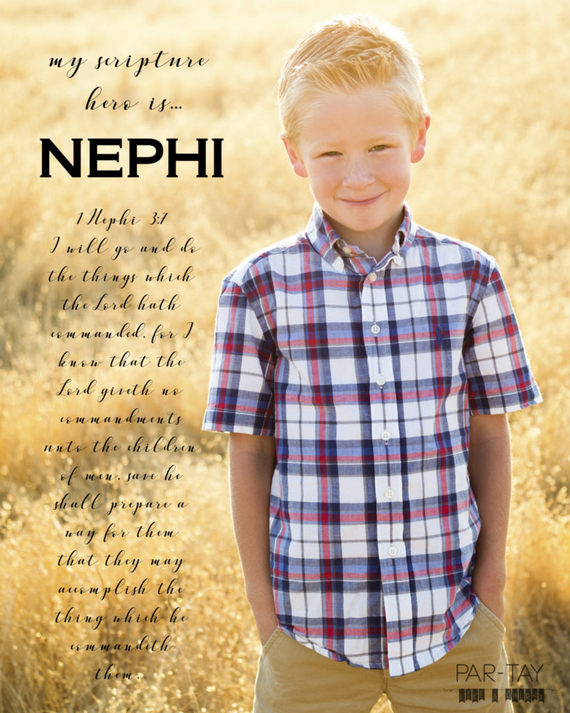 Display poster of child's favorite scripture at LDS baptism