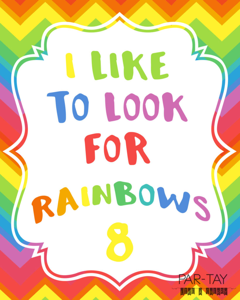 I like to look for rainbows free printable great for baptisms or great to be 8