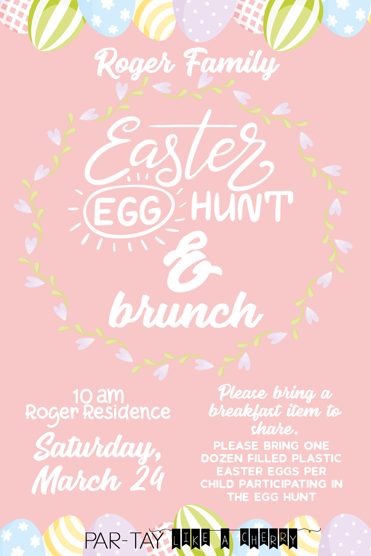 Easter Egg Hunt Invitation Template With Logo Party Like A