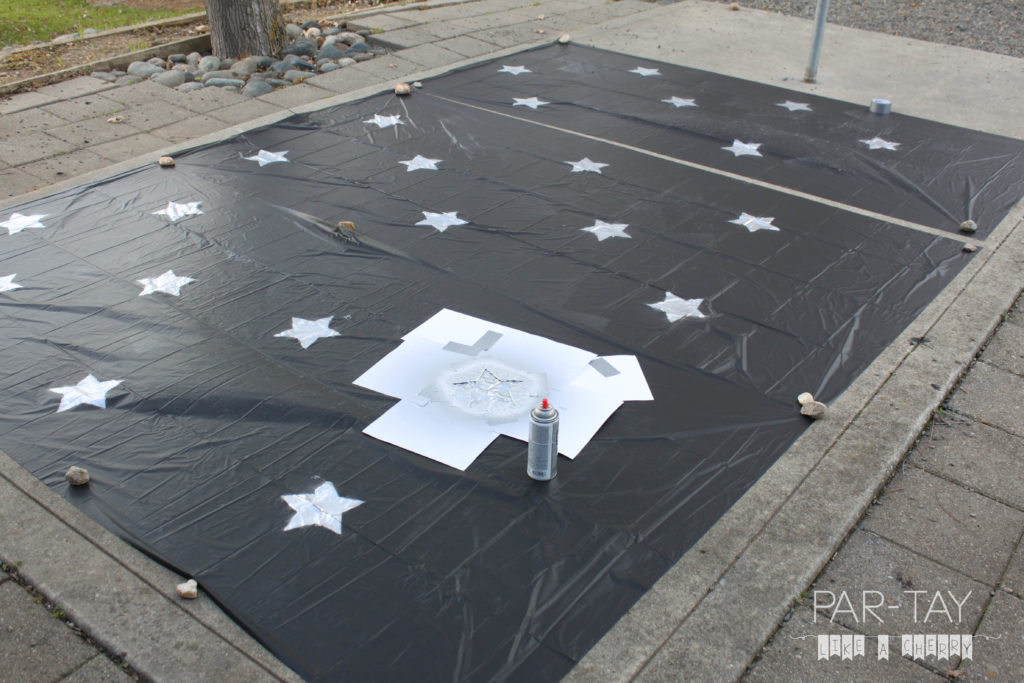 space party backdrops from dollar store tablecloths