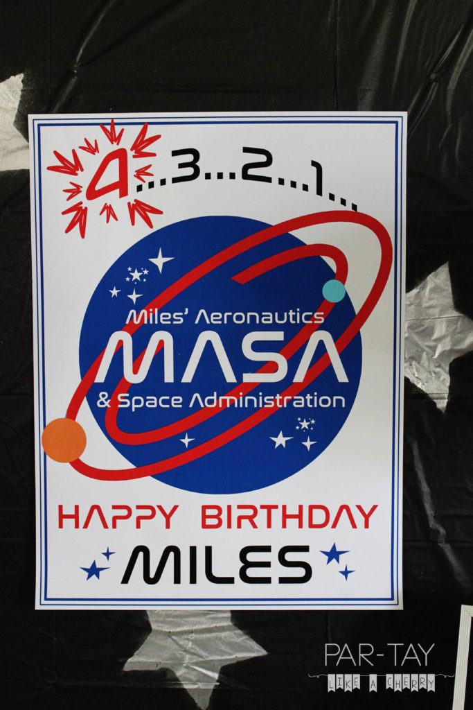 space party personalized poster