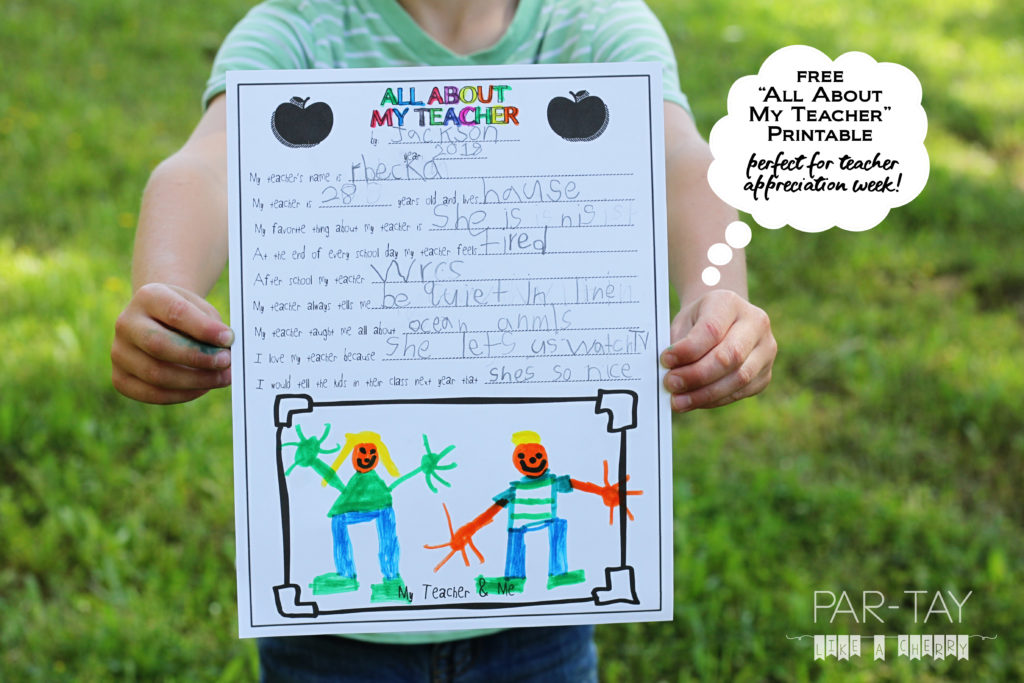 photo about All About My Teacher Free Printable named All Around My Trainer- Free of charge Trainer Appreciation Printable