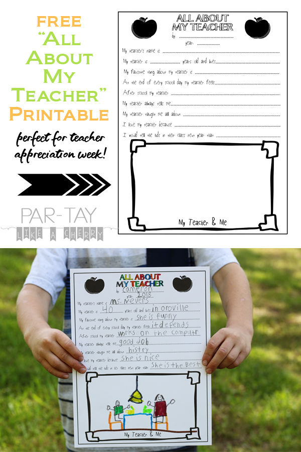 free all about my teacher printable