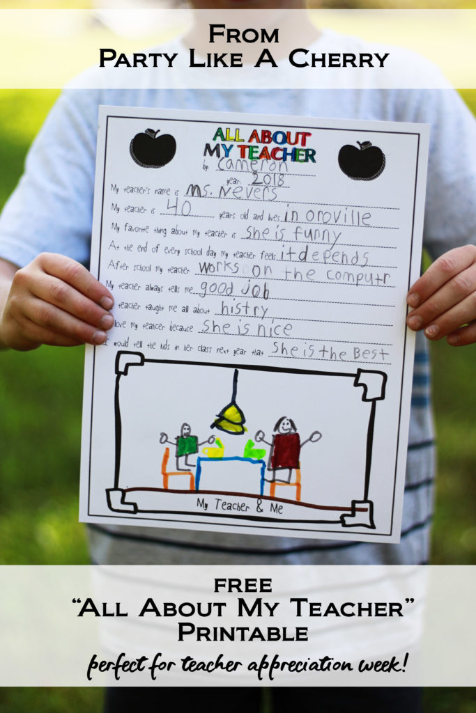 photo regarding All About My Teacher Free Printable referred to as All Relating to My Instructor- Free of charge Instructor Appreciation Printable