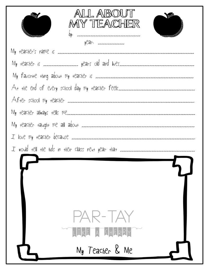 All About My Teacher- Free Teacher Appreciation Printable - Party ...